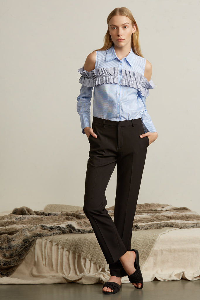 Mid-Rise Tailored Straight Suit Pants