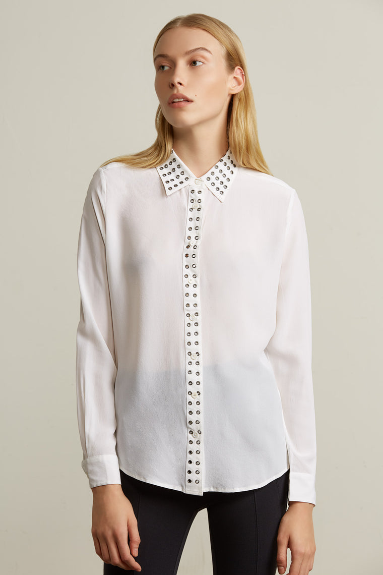 Sheer Silk Collared Blouse