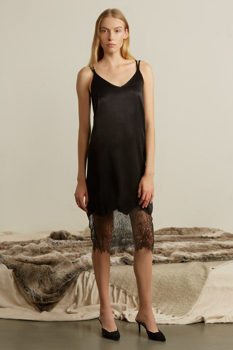 Sleeveless Slip Dress with Lace