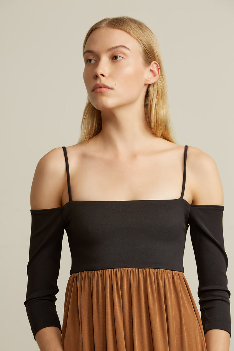 Off-Shoulder Stretch Slip Dress
