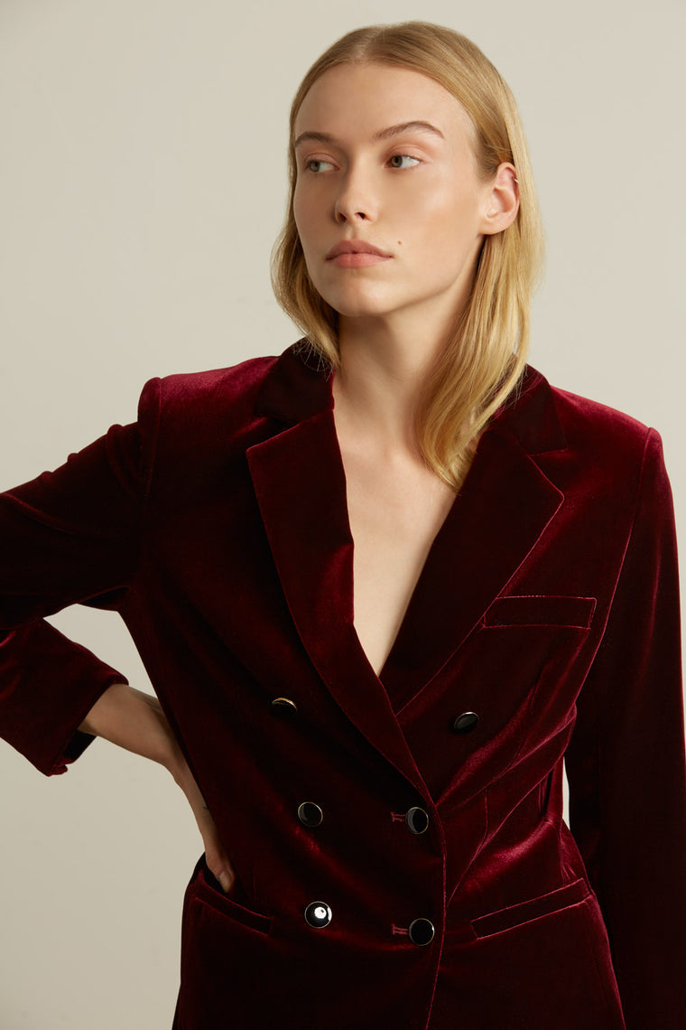 Double Breasted Velvet Blazer