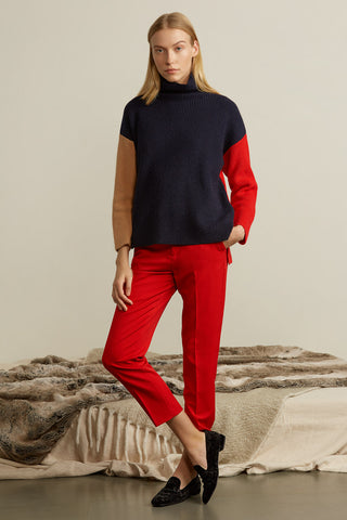 Colorblock Wool Cashmere Blend Sweater