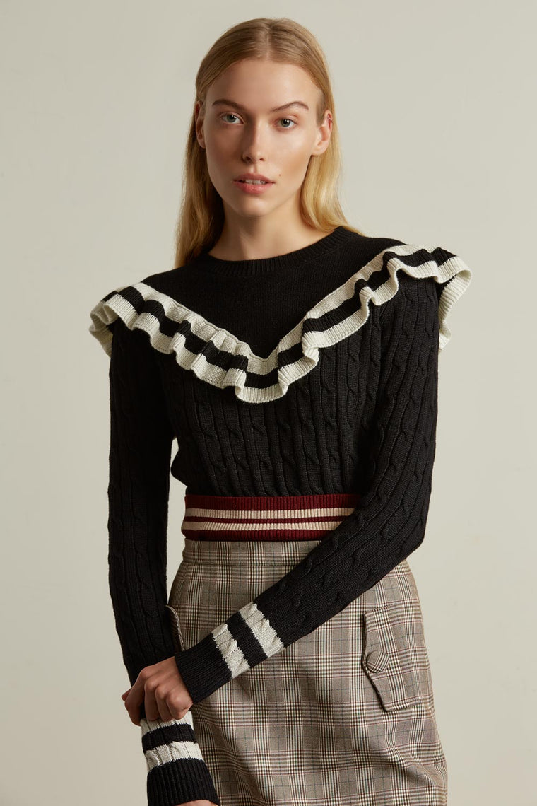 Wool Blend Ruffle Sweater
