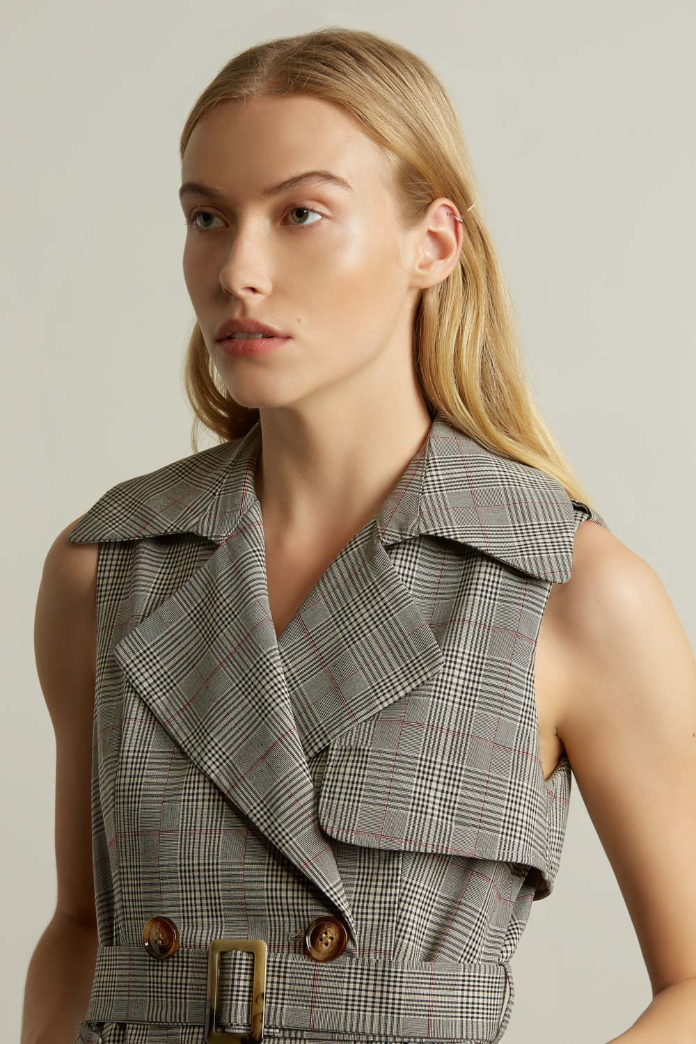 Sleeveless Double Breasted Plaid Jacket