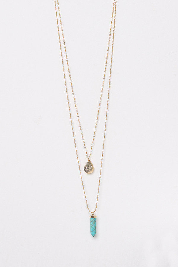 Crystal Teardrop Layered Necklace