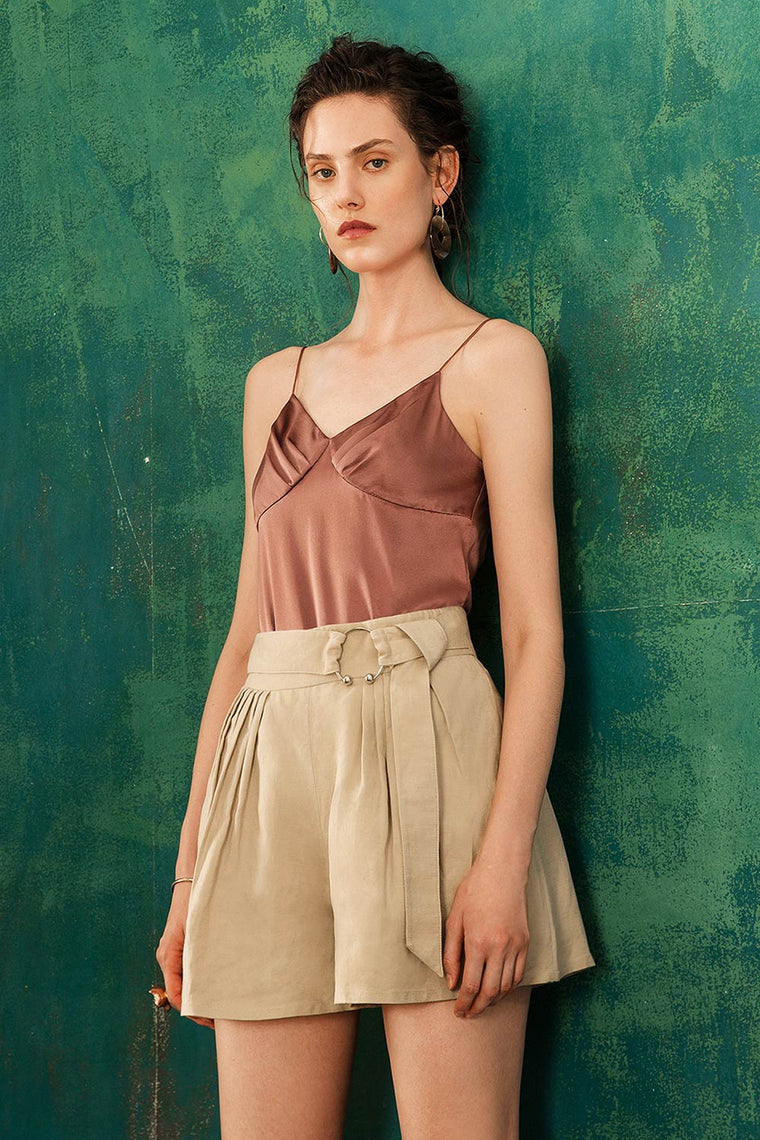 High Waist Linen Blend Belted Shorts