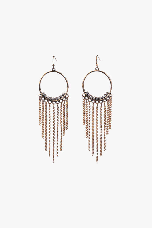 Hoop Tassle Earrings