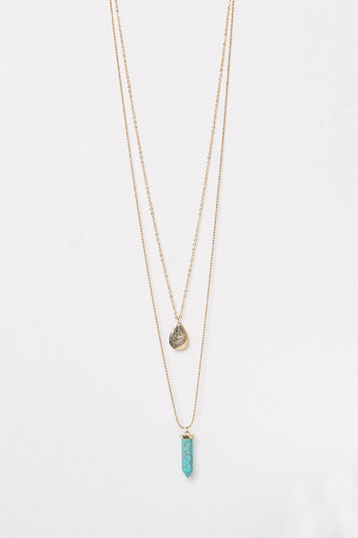 Layered Crystal and Teardrop Pendant Necklace