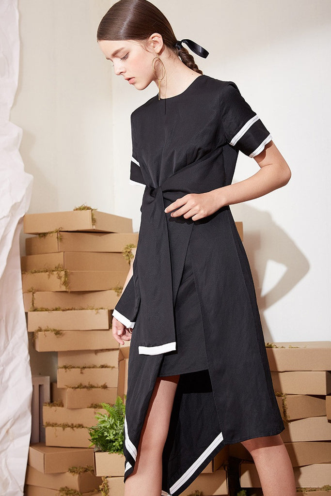 Belted Wrap High Low Midi Dress