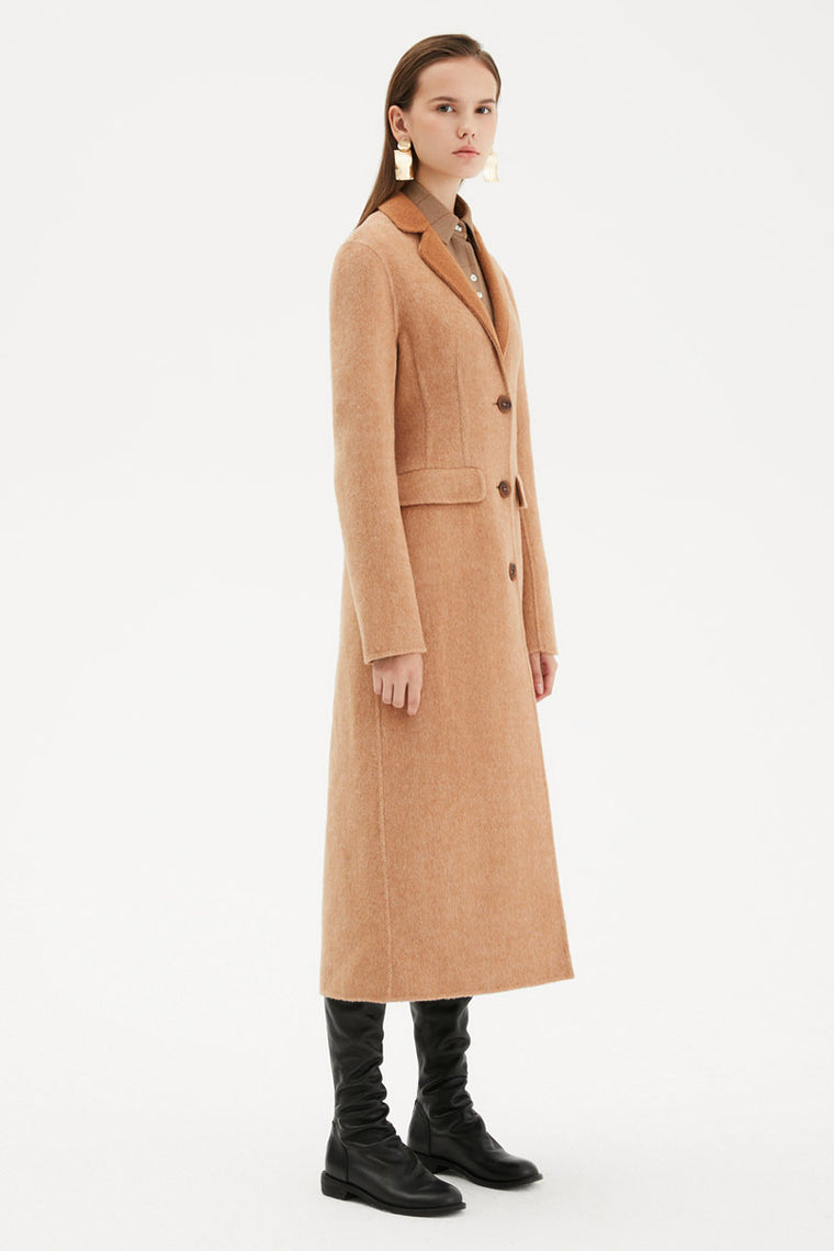 Button Down Tailored Wool Coat