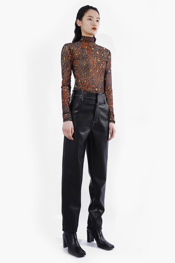 Faux Leather Straight Pants