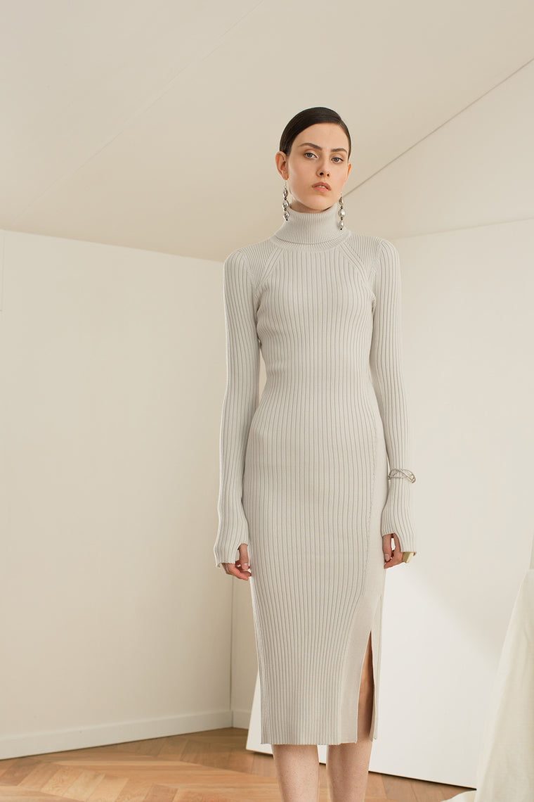 Stretch Knit Wool Blend Midi Dress