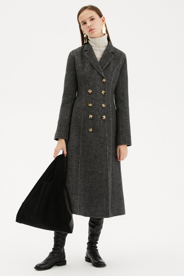 Double Breasted Tailored Wool Coat