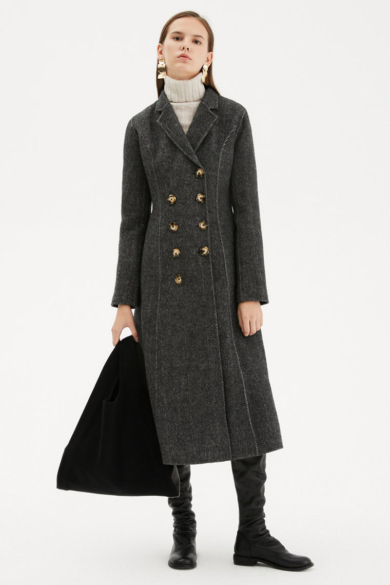 Double Breasted Tailored Wool Knit Coat
