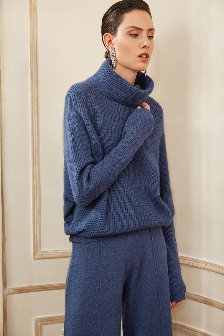 Wool Cashmere Blend Turtleneck Sweater
