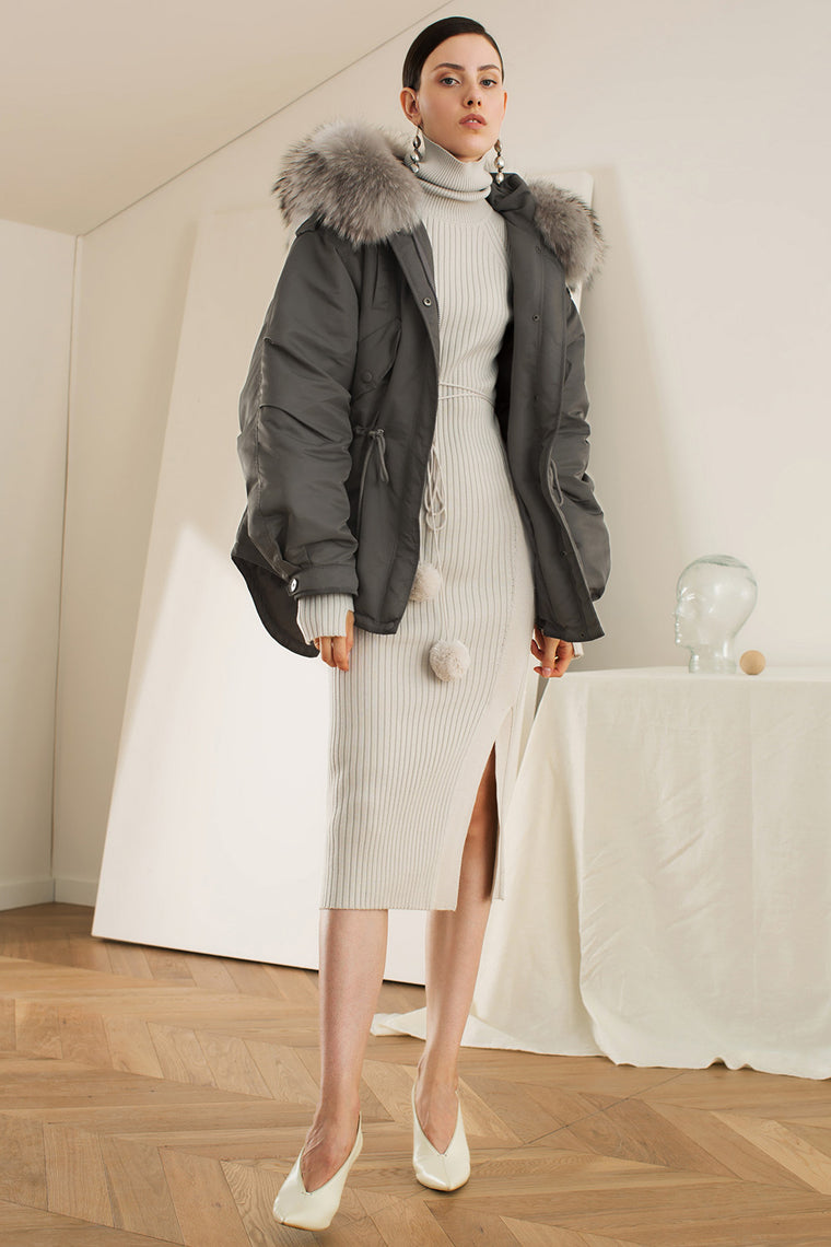 High Low Fur Trim Hooded Down Coat