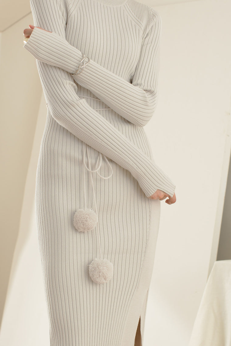 Stretch Knit Wool Blend Dress