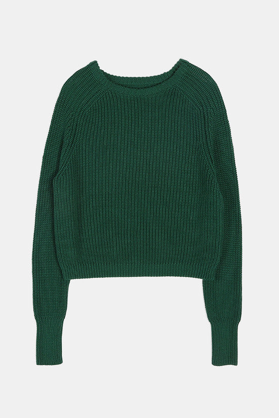 Retro Loose Crop Green Sweater