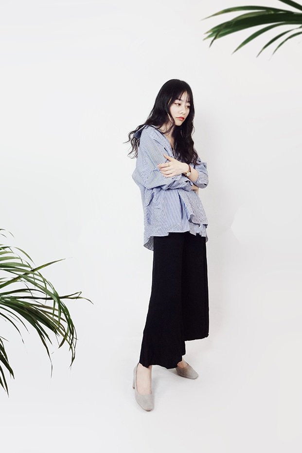 Knit Oversized Pants in Black
