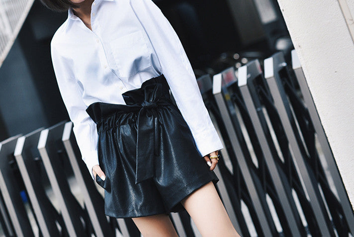 Faux Leather Tie High Shorts