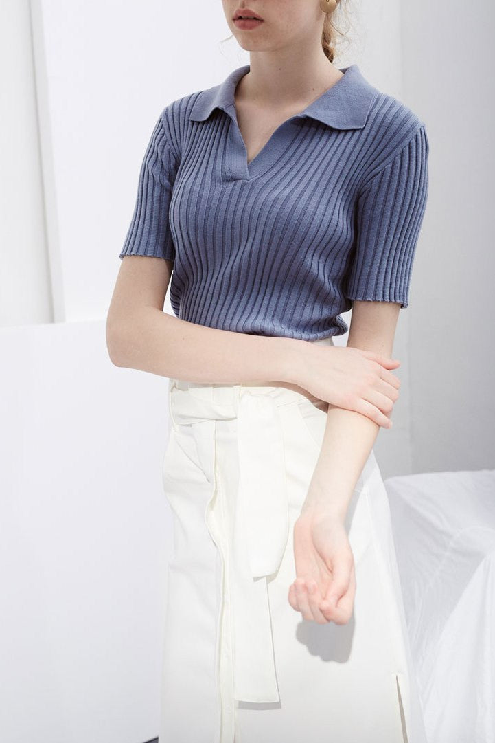 Short Sleeve Collar Top