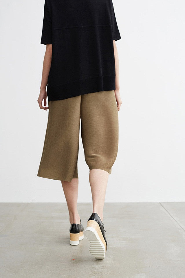 Pleated Wide Crop Pants