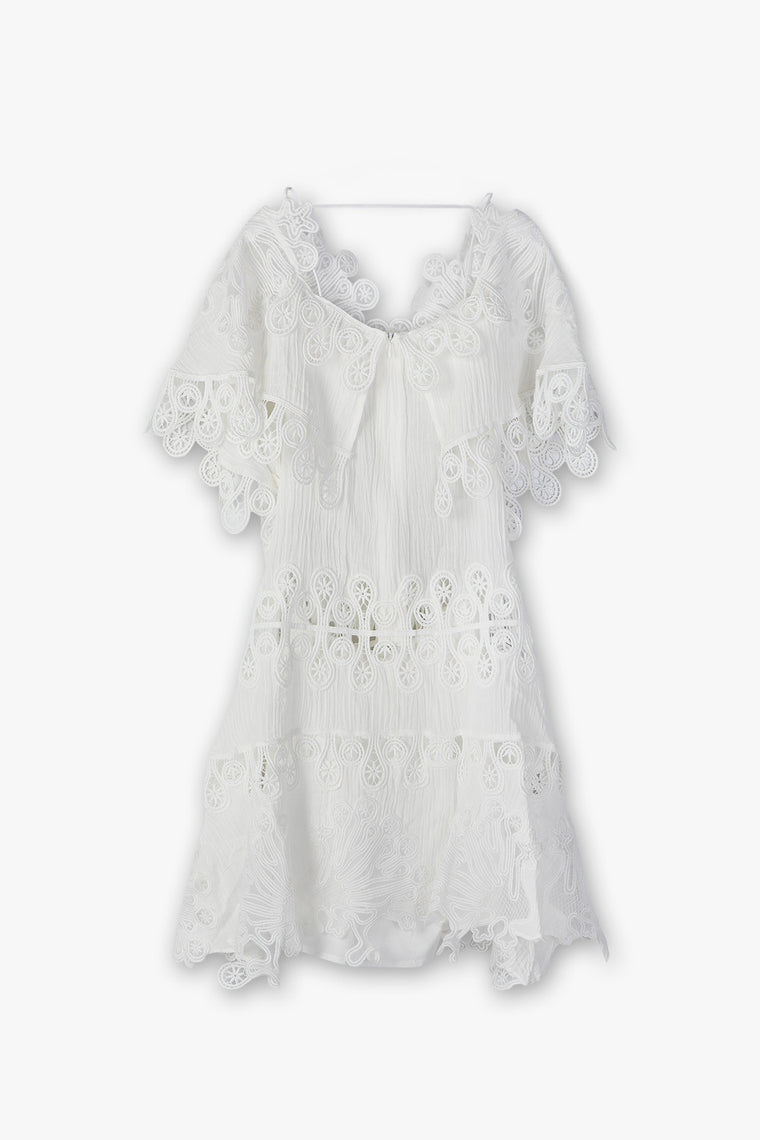 Cotton Linen Crochet Mini Dress
