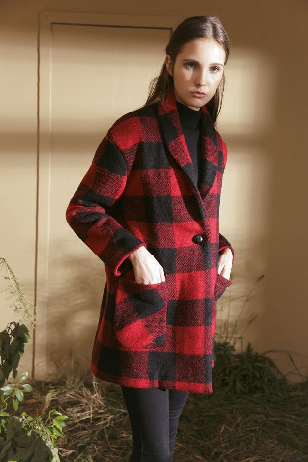 Oversized Checkered Wool Blend Coat