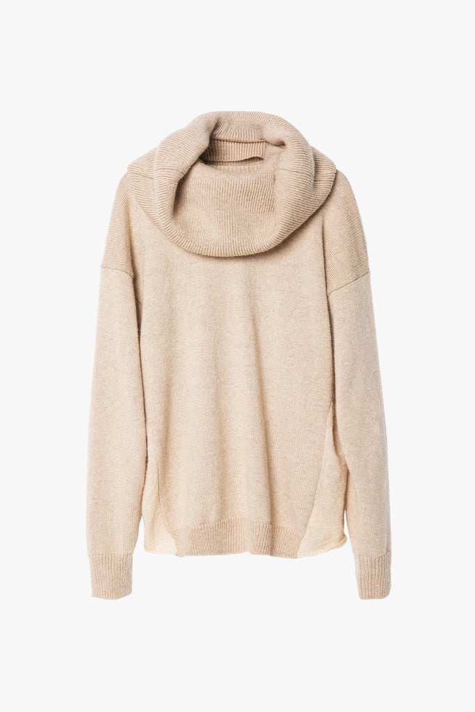 Cream Oversized Wool Sweater with Neck Wrap