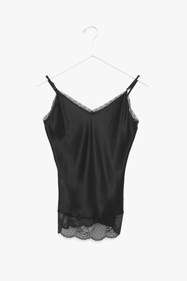 Solid Silk and Lace Top