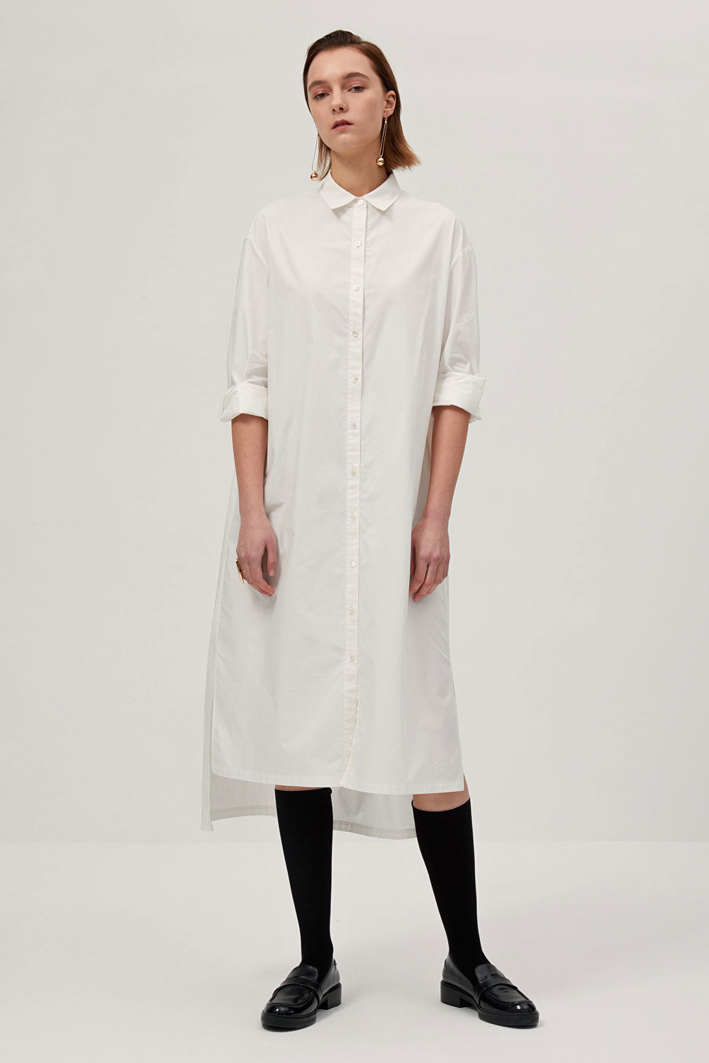 Button Down High Low Shirt Dress