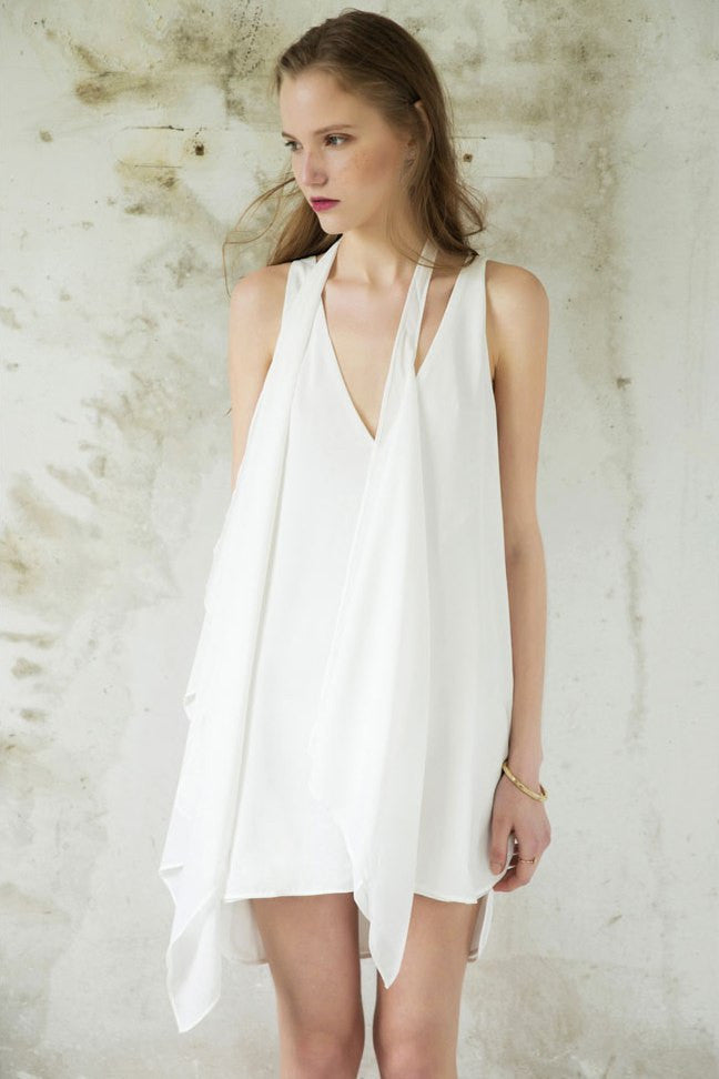 V Neck Chiffon Mini Dress
