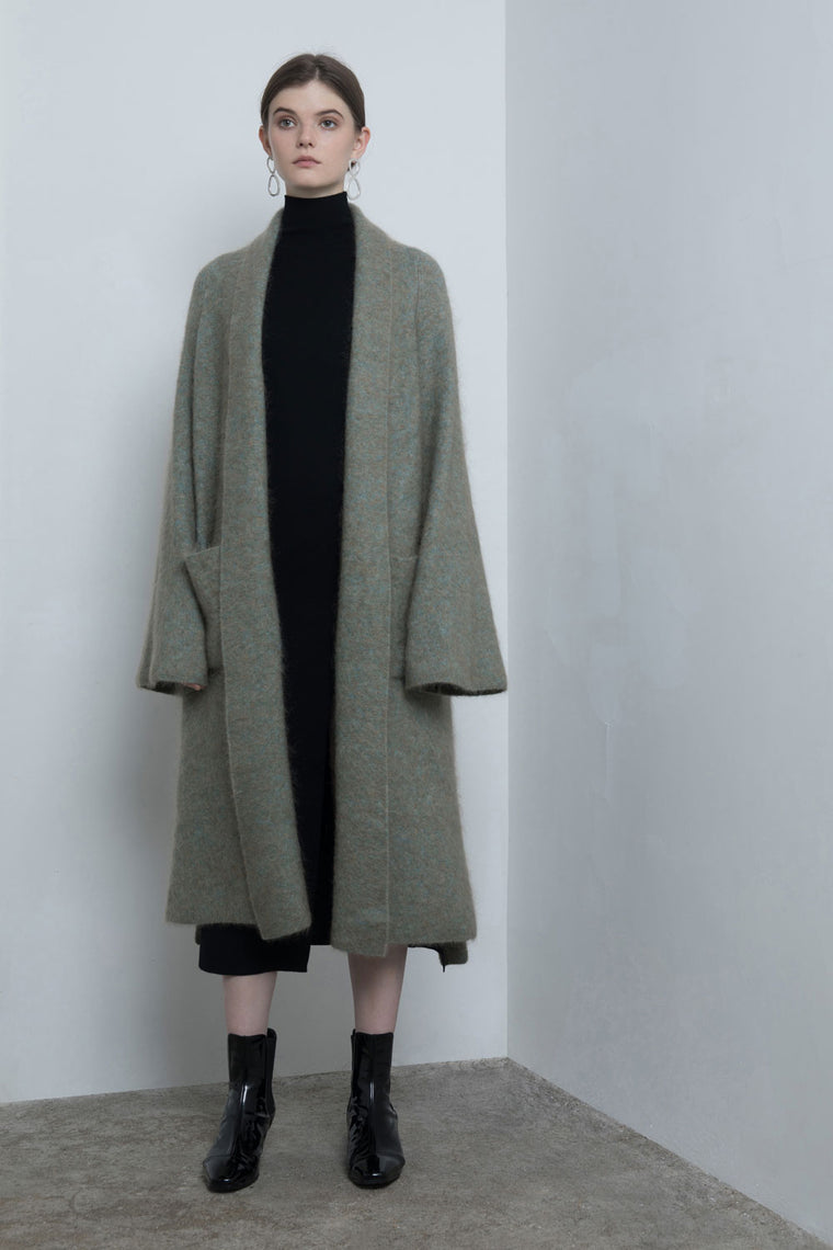 Oversized Long Bell Sleeved Wool Cardigan