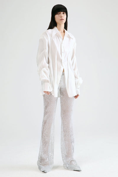 Pleated Sheer Button Shirt by Genuine People