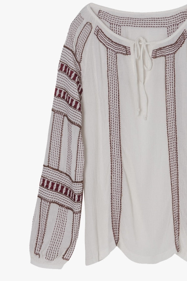 Embroidered Beaded Peasant Blouse