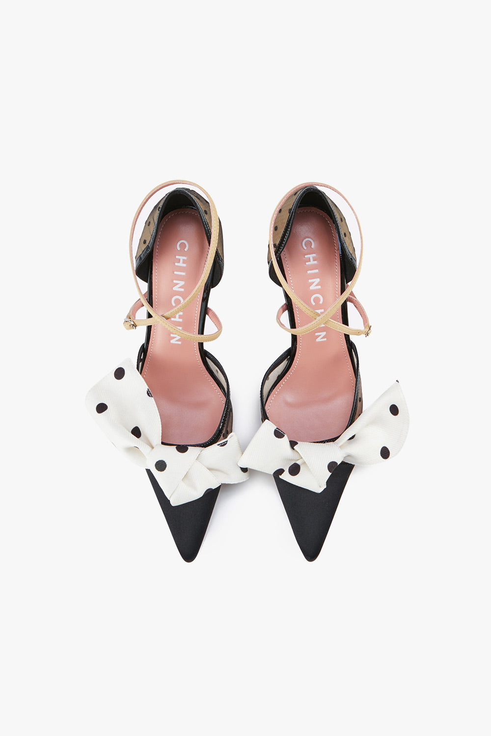 Mesh Polka Dot Bow Pumps