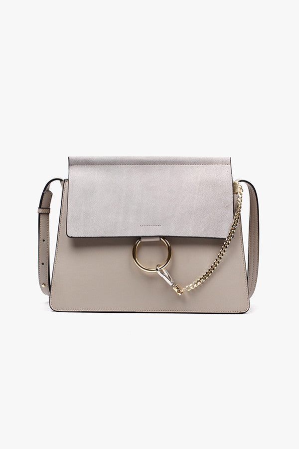 Faux Leather and Suede Chain Shoulder Bag