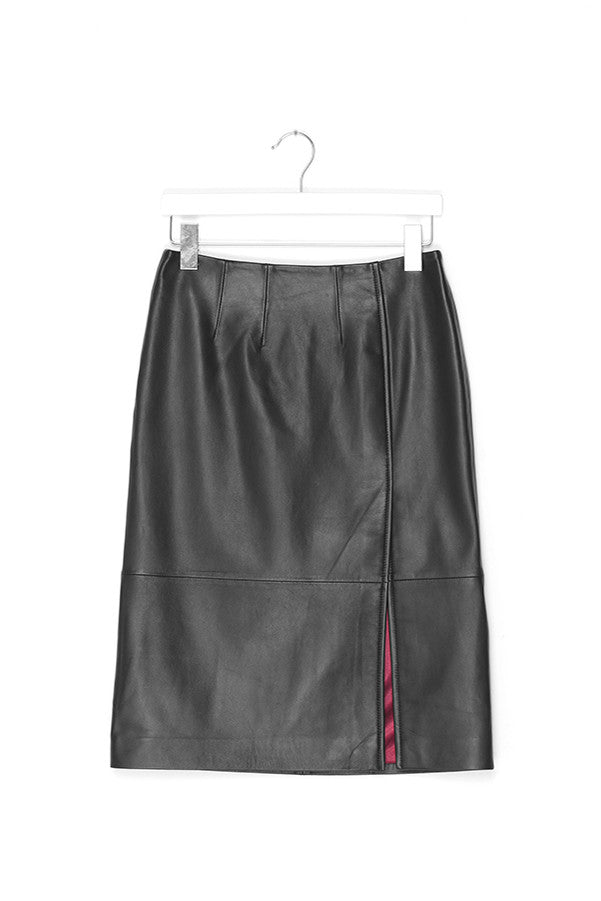 High Waist Leather Midi Skirt