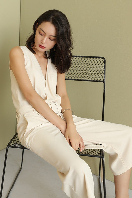 Chiffon V Neck Crop Jumpsuit