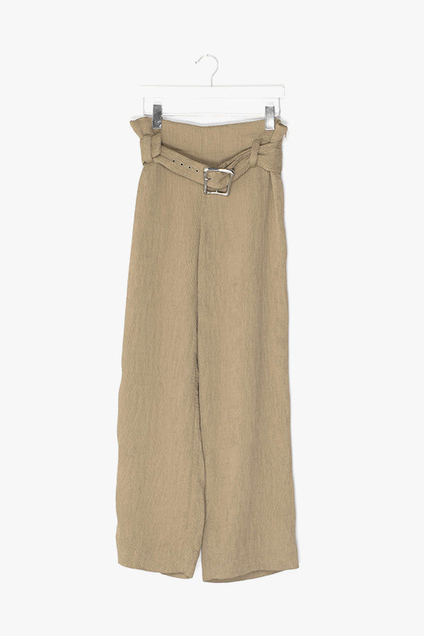 Pleated Wide Leg Belted Pants