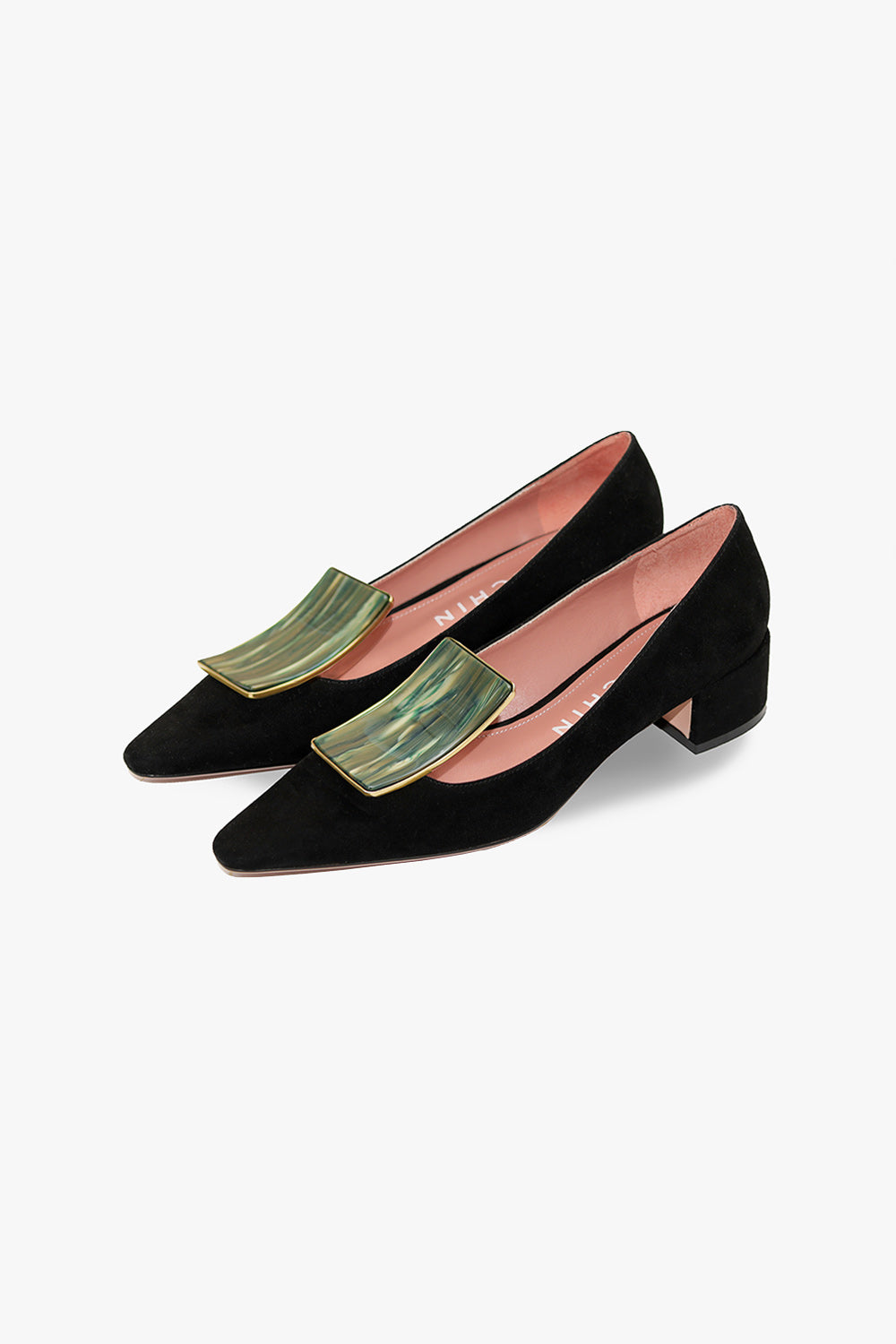 Gemstone Low Heel Suede Pump
