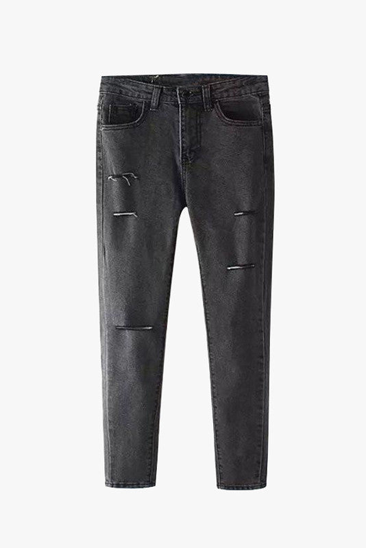 Black Washed Cropped Skinny Jeans - Mid Rise