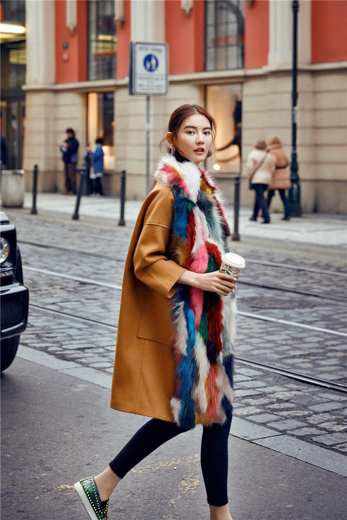 Multi Color Faux Fur and wool Scarf - Limited Edition