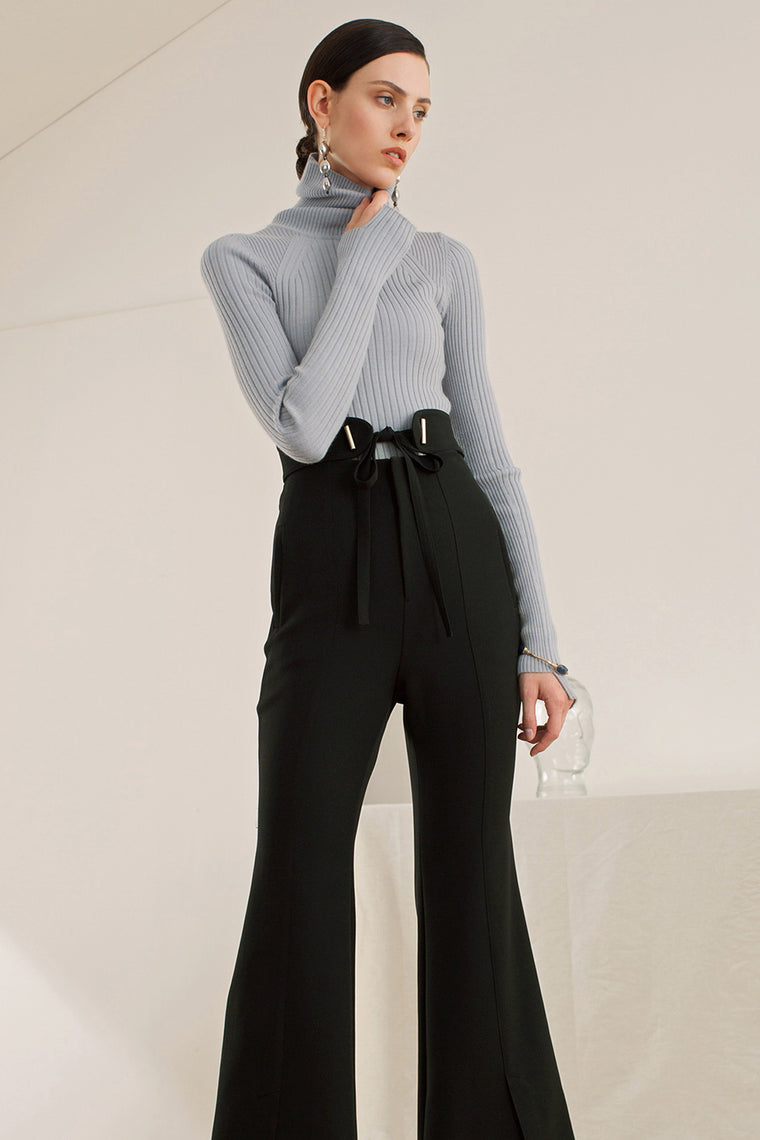 Turtleneck Long Sleeved Ribbed Shirt