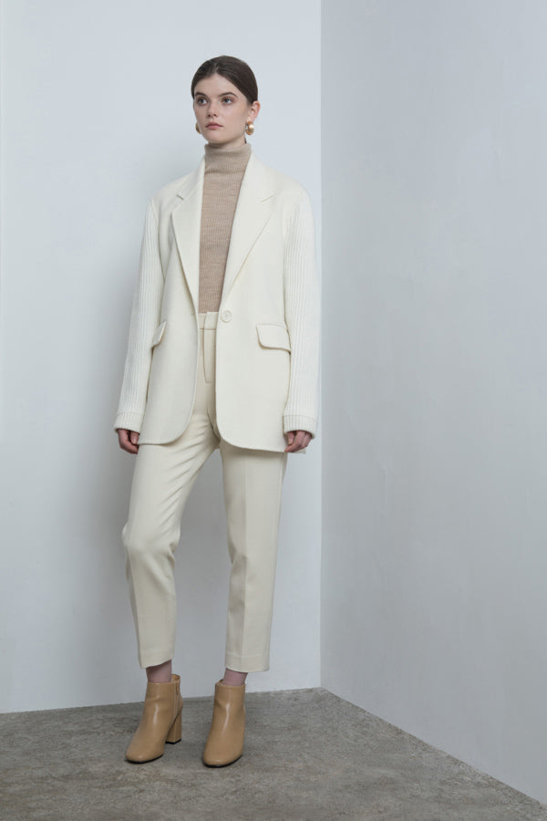 Tailored Wool Jacket with Ribbed Knit Sleeves
