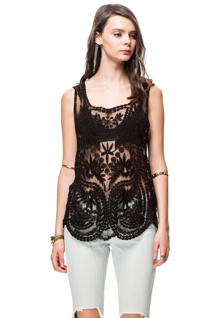Black Sleeveless Embroidered Top