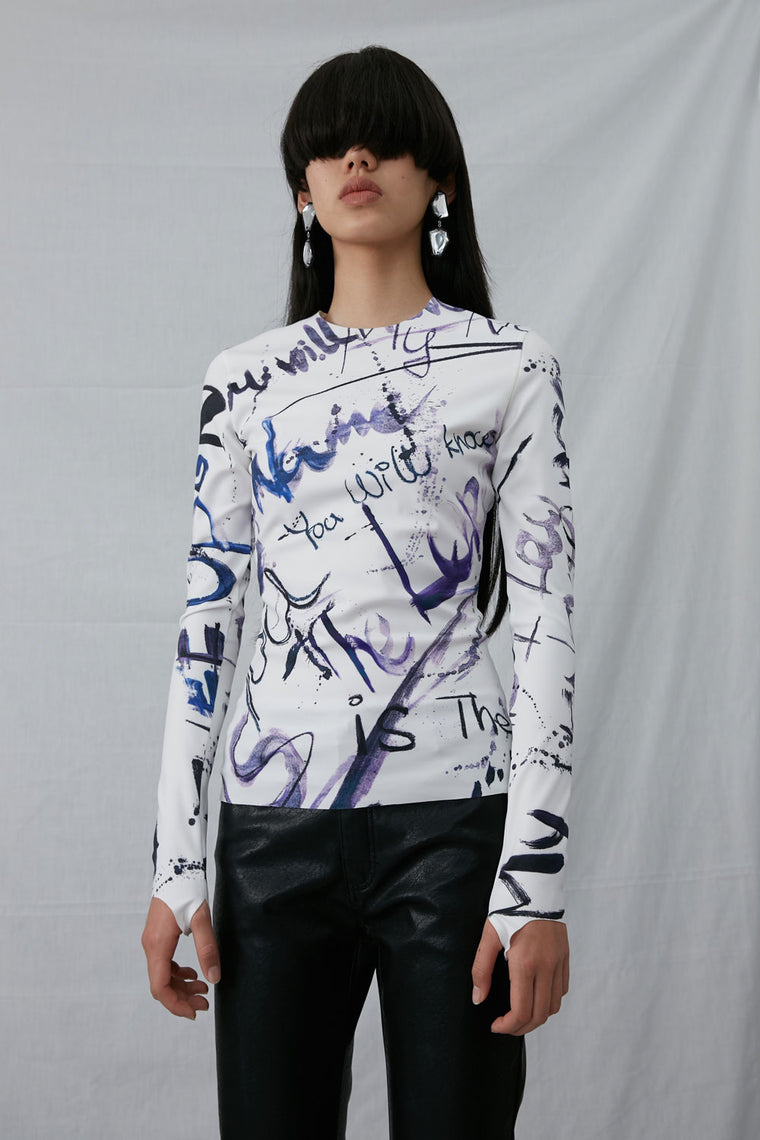 Graffiti Print Long Sleeved Shirt