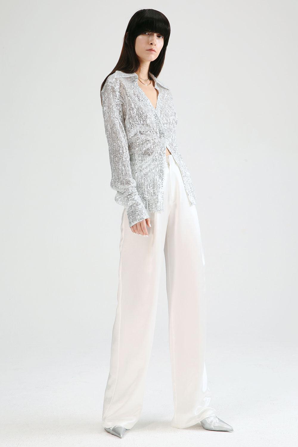 Collared V-Neck Sequin Shirt