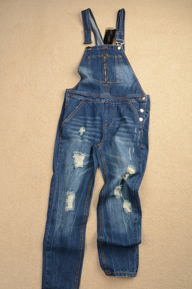 Blue Denim Ripped Overall