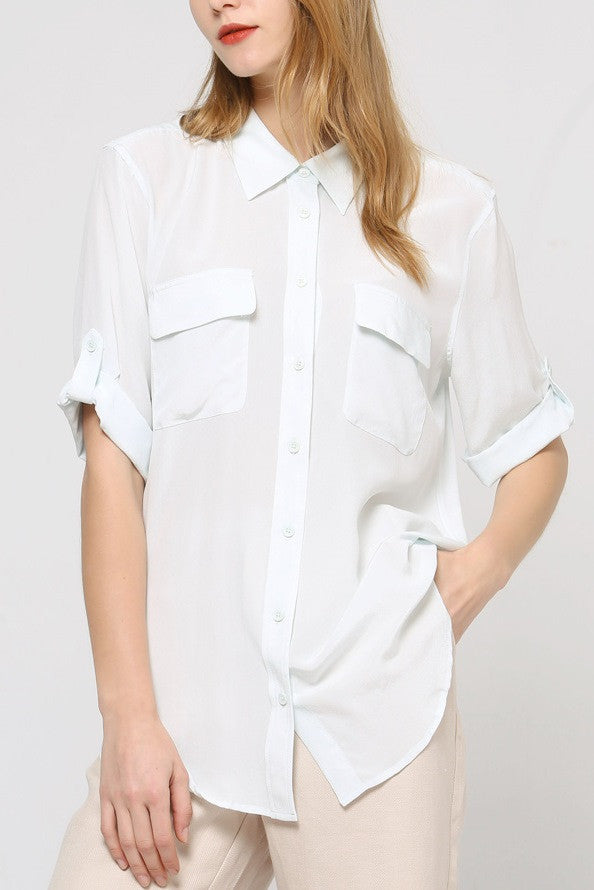 Silk Button Front Blouse